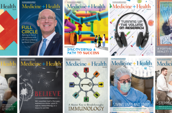 Covers of past print editions of Medicine + Health magazine