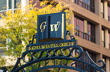 GW gate on campus