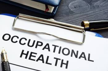 Clipboard with paper saying Occupational Health